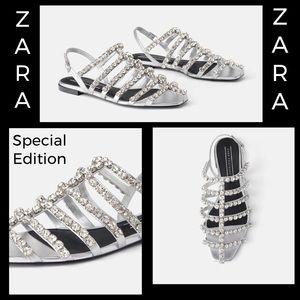 Zara bejeweled sandals Size 5